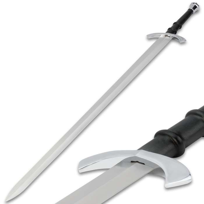 Medieval Master Broadsword With Leather Scabbard
