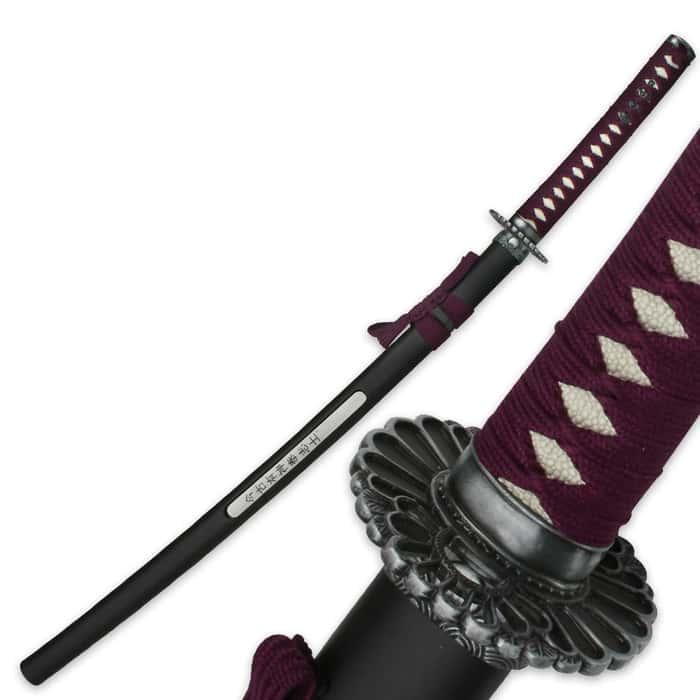 Purple Samurai Warrior Sword With Open Scabbard