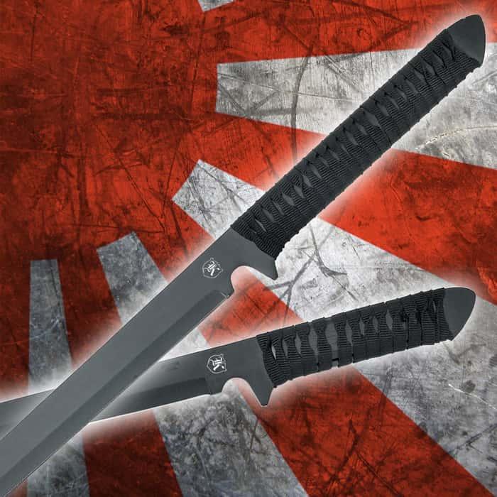 "TACTICAL SWORD 27/"" Black Stainless Steel Ninja Slim Blade Sharp Full Tang HK6634"