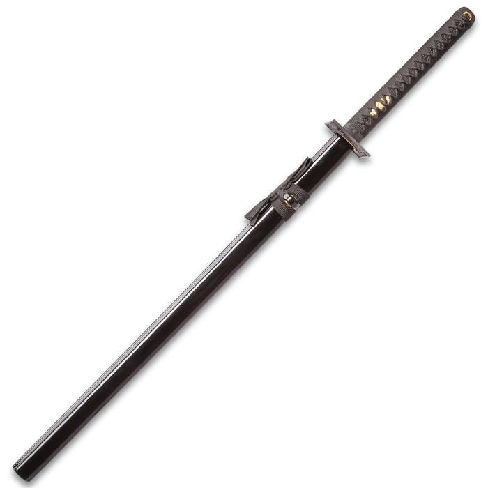 Shinwa Black Knight Handmade Katana / Samurai Sword - Hand Forged Black Damascus Steel - Razor Sharp, Full Tang - Fully Functional, Battle Ready, Ninja Sleek - Faux Ray Skin, Cord Wrap, Dragon Tsuba
