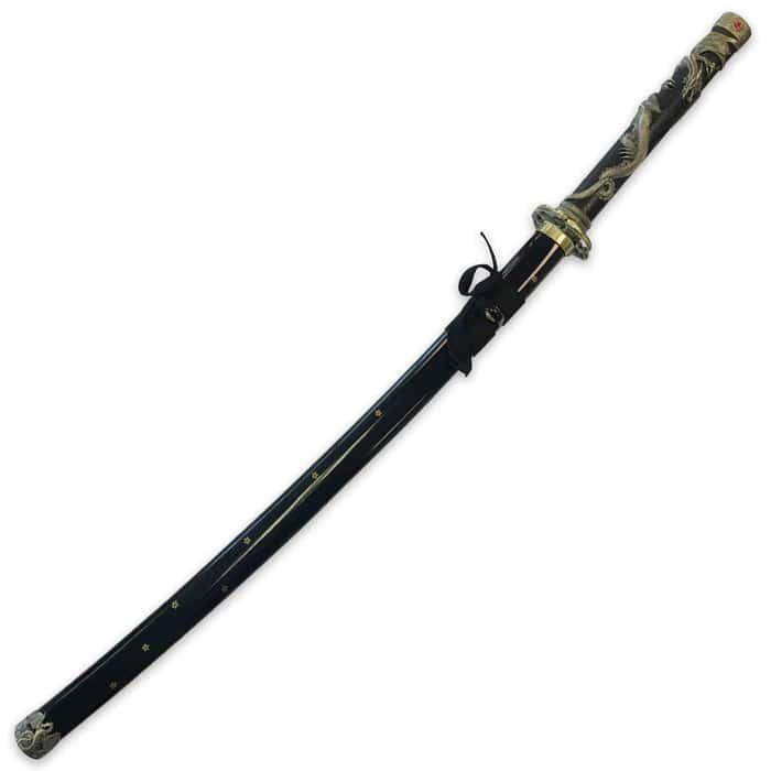 Ten Ryu Garnet Crown Dragon Katana with Black Wooden Scabbard - Antique Gold