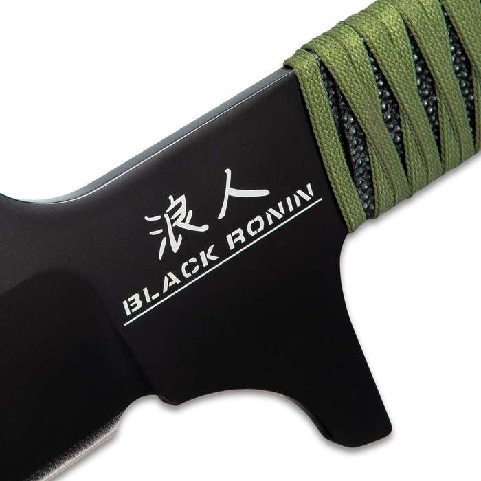 """Black Ronin Tak-Kana Sword With Scabbard - One-Piece 3Cr13 Stainless Steel, Wrapped Handle, Lanyard Hole - Length 29 1/2"""""""
