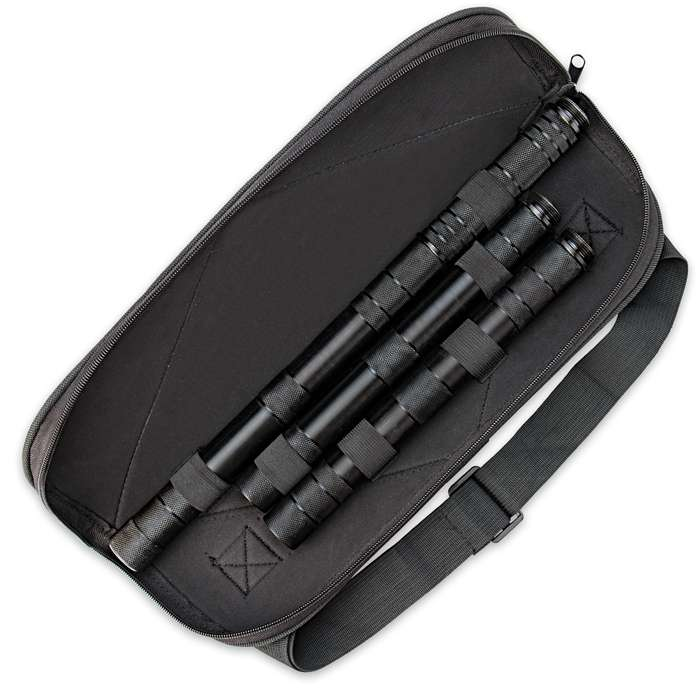 "B.M.F.™ Tri-Edged Heavy Spear With Zippered Case - Titanium Finish - Breaks Down For Storage - 45 1/2"" Length"