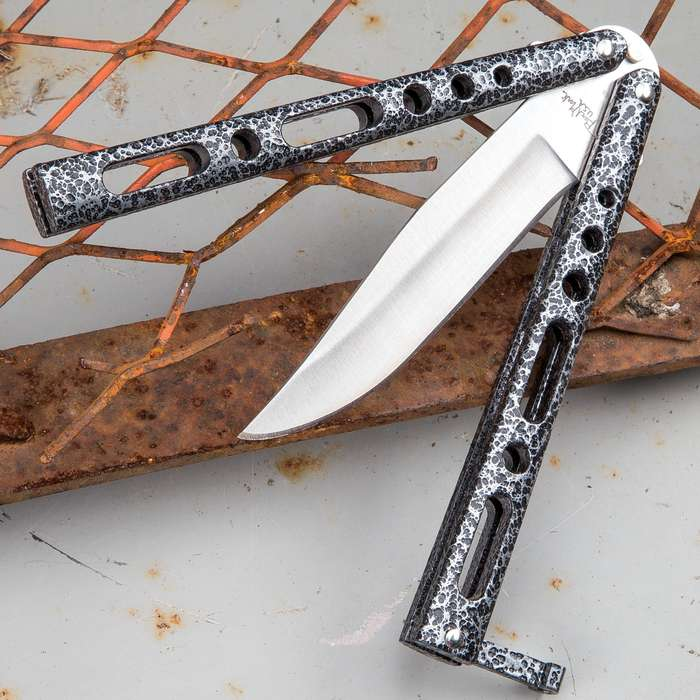 Black And Silver Speckled Skeleton Butterfly Knife - Stainless Steel Blade, Die Cast Metal Handles, USA Made