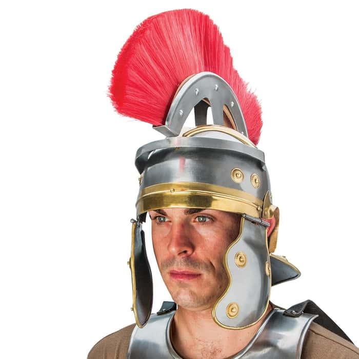 Adult Size Medieval Roman Officer Centurion Historical Helmet Armor Red Plume