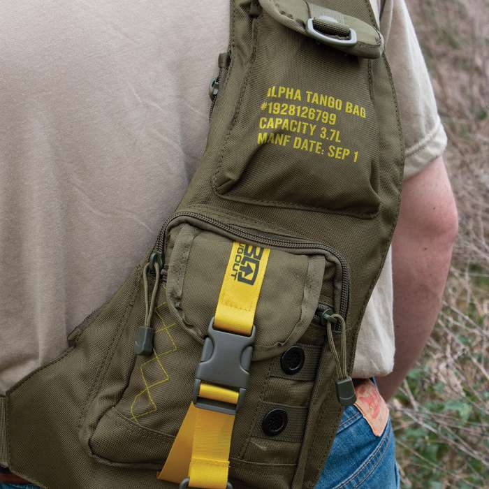 "BugOut Sling Bag Day Pack - Tough Cotton Canvas Construction, Multiple Pockets, Adjustable Strap - Dimensions 19 3/4""x 9 3/4"""