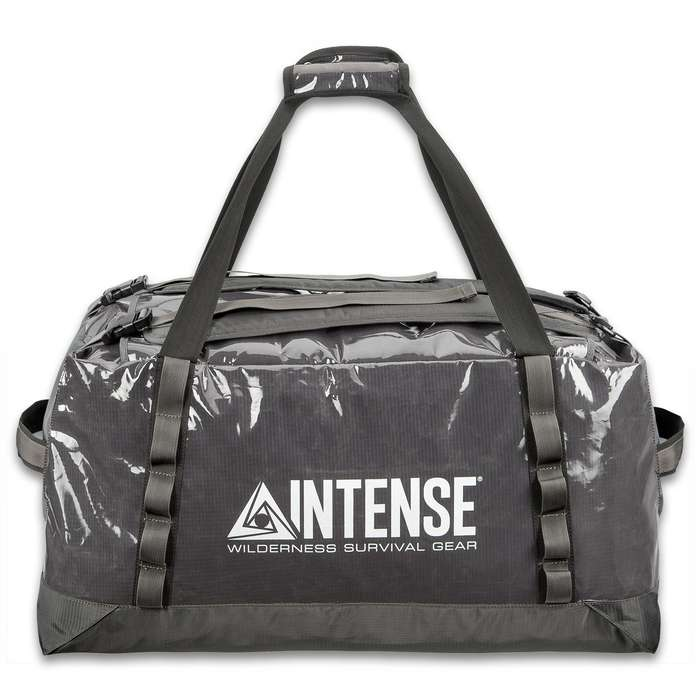 Intense Ripstop Duffel Bag - Water-Resistant, Adjustable Backpack Straps, Padded Carrying Straps, End Handles, Mesh Pockets - Dimensions