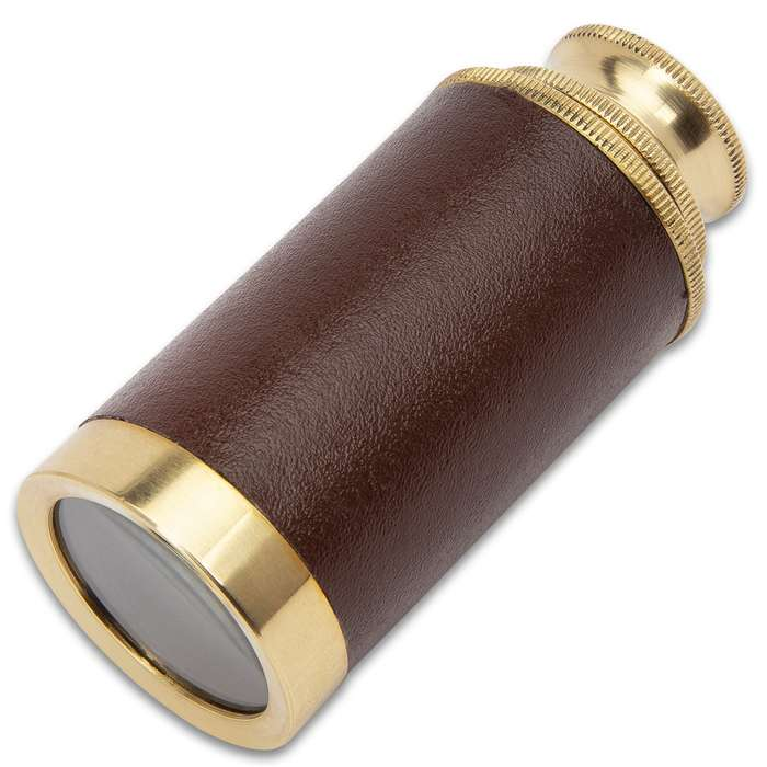 """Mini Brass Telescope With Leather Hardcase - High-Quality Brass, Glass And Leather Construction - Overall Length 6 1/4"""""""