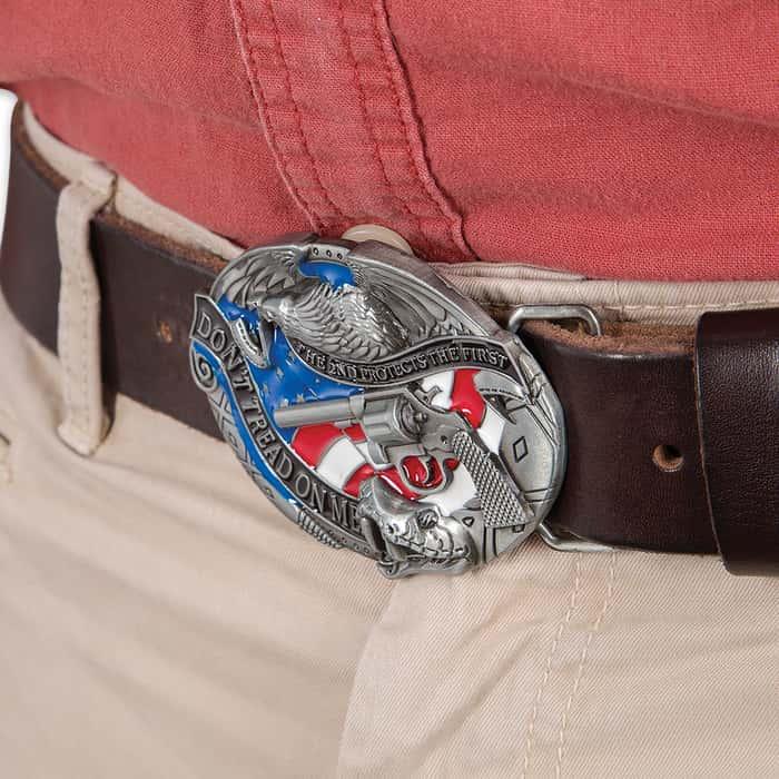 """Don't Tread on Me"" 2nd Amendment Belt Buckle"