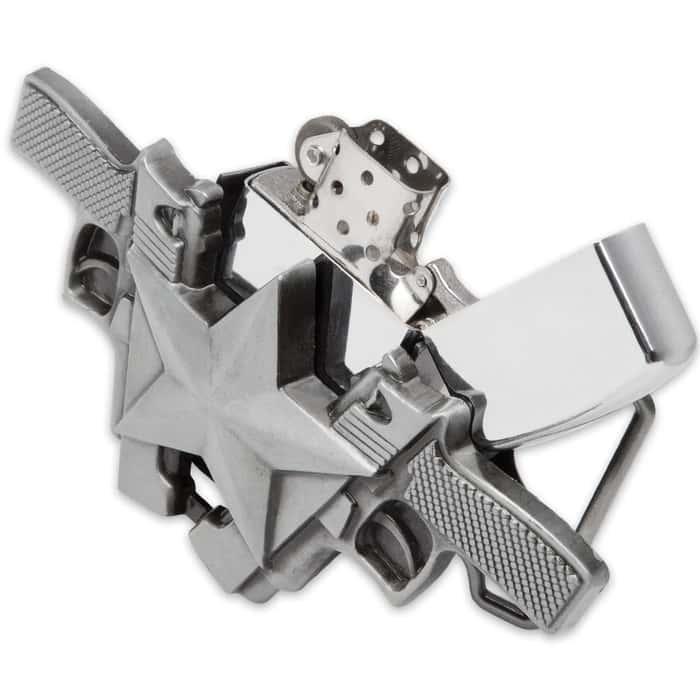 Double Pistol Star Belt Buckle With Lighter