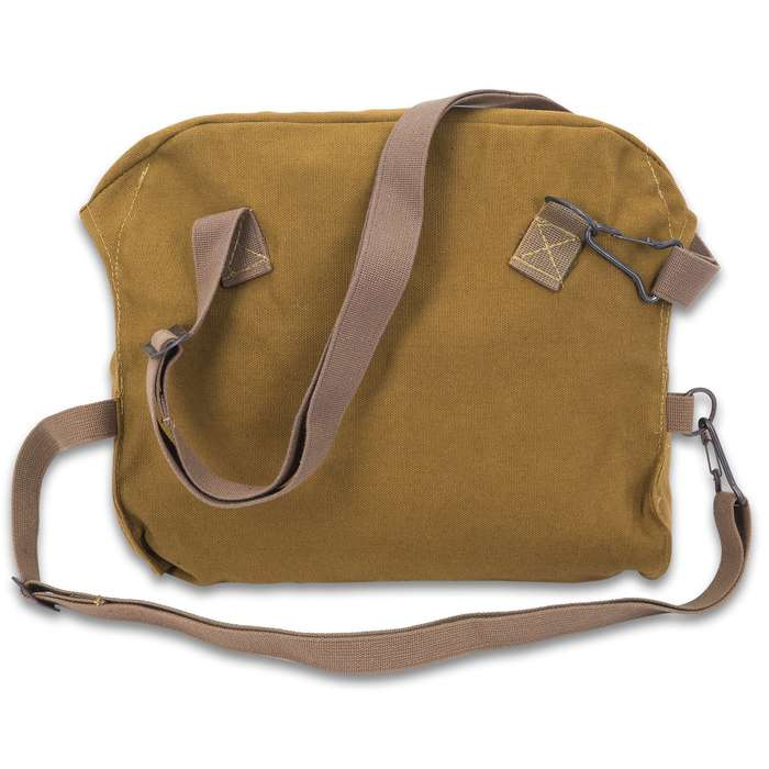 Finnish Military Issue Gas Mask Bag - Used - Olive Drab Heavy-Weight Canvas, Cotton Webbing Strap, Metal Hardware