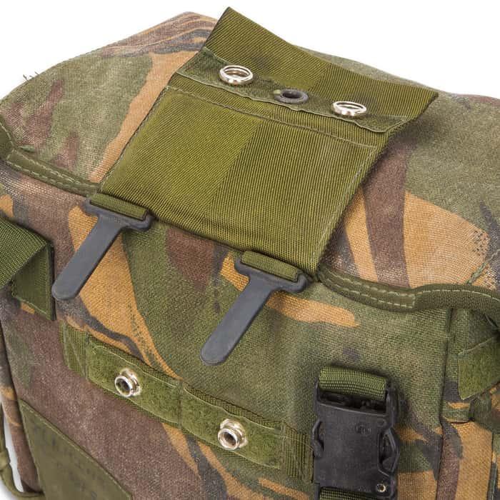 British Military Issue Camo Gas Mask Bag - Used - Heavy-Duty Nylon, Belt Loop, Shoulder Strap, Internal Pockets