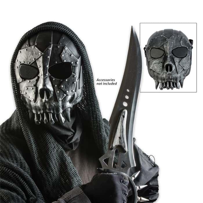 ABS Tribal Skeleton Facemask Silver & Black