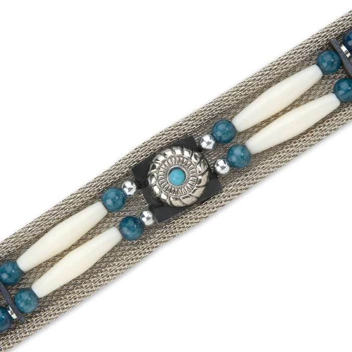 Western / Southwestern Style Belt - Stainless Steel Mesh; Contrasting Beads, Rosettes, Other Accents - Fully Adjustable, Reinforced Stays - Premium Buckle, Taper - Cowboy Cowgirl Native American