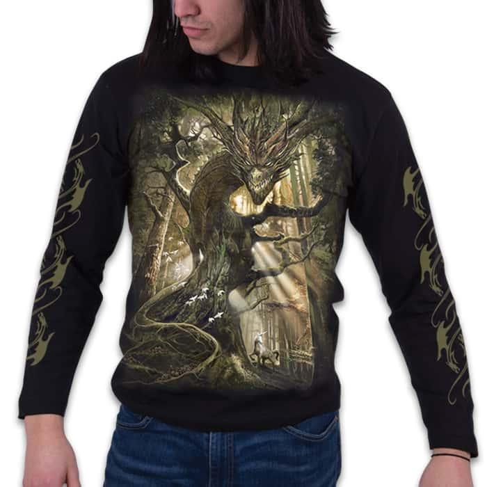 Dragon Forest Black Long-Sleeve T-Shirt - Top Quality 100 Percent Cotton, Original Artwork, Azo-Free Reactive Dyes