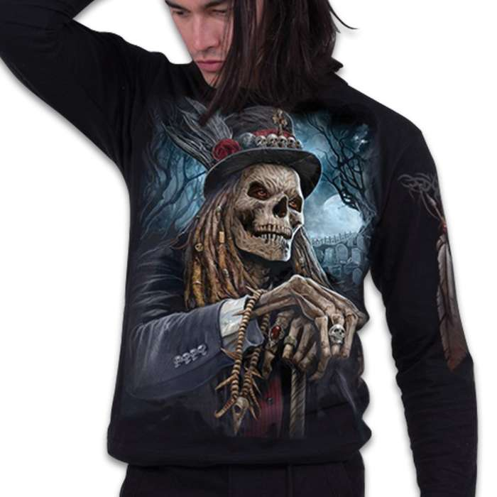 Voodoo Catcher Black Long-Sleeve T-Shirt - Top Quality 100 Percent Cotton, Original Artwork, Azo-Free Reactive Dyes