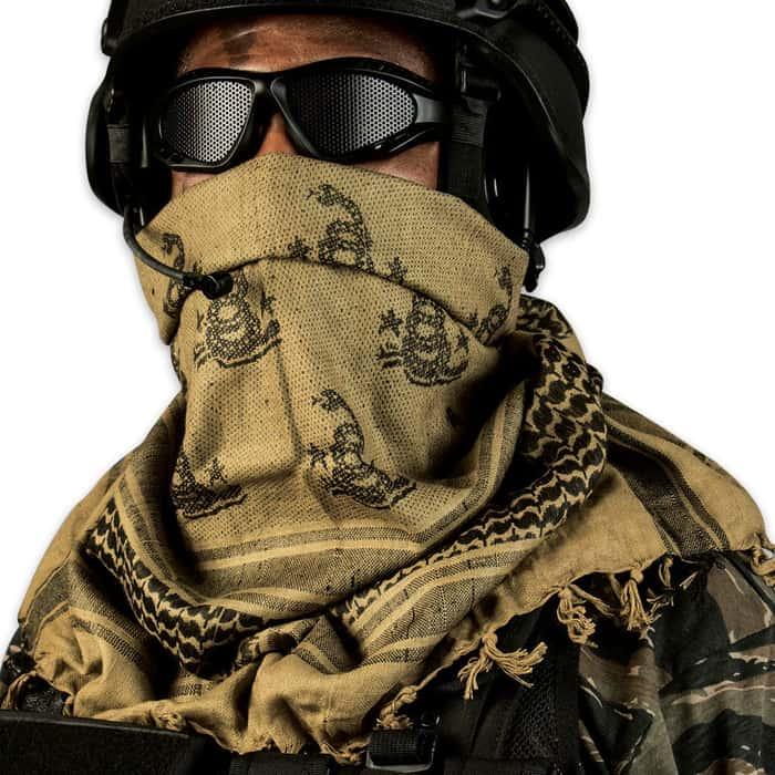 Reversible Shemagh Head Wrap OD Gadsen Flag & Snake