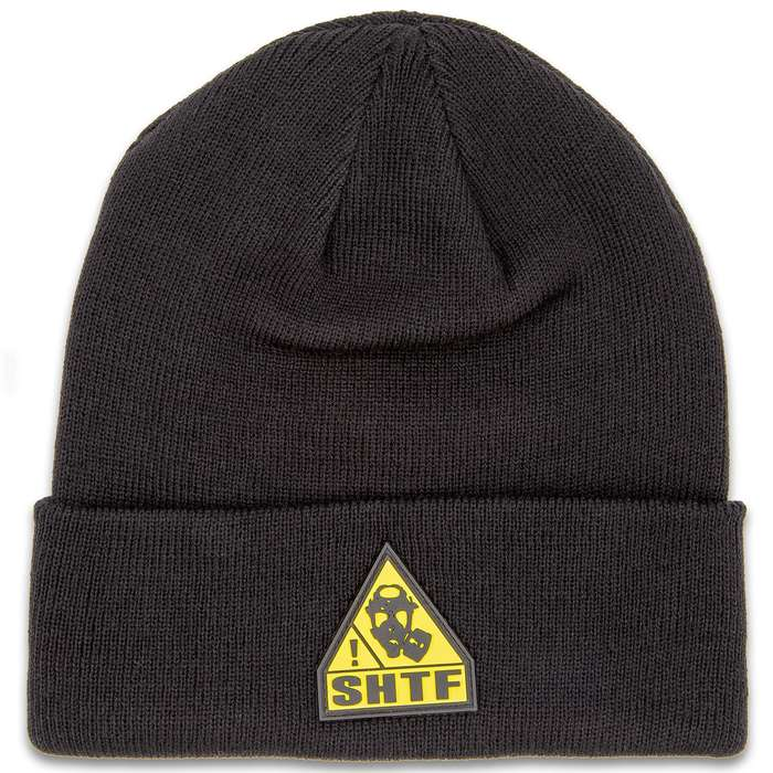 SHTF Black Beanie With Logo - 100 Percent Soft Polyester Construction, Classic Style, TPR Patch, One Size Fits Most