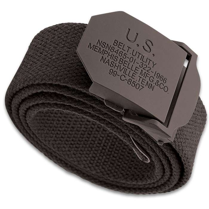 """Black Army Training Belt - Tough Canvas Construction, Non-Reflective Metal Buckle, Leather Reinforced End - Length 46"""""""