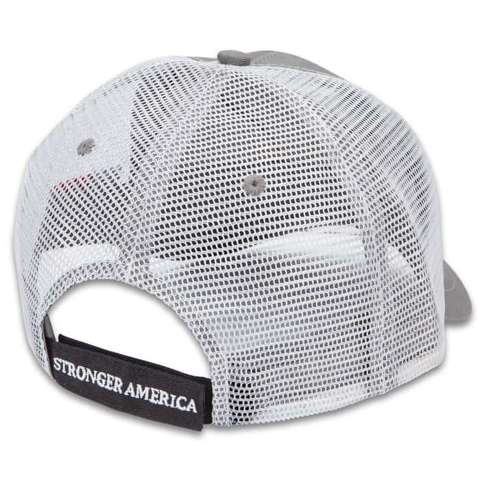 Veterans For Trump Hat - Trucker Style Cap, Cotton Twill Construction, Polyester Mesh Back, Velcro Back Strap