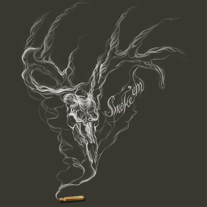 Buckwear Smoke Em Deer Skull Charcoal T-Shirt