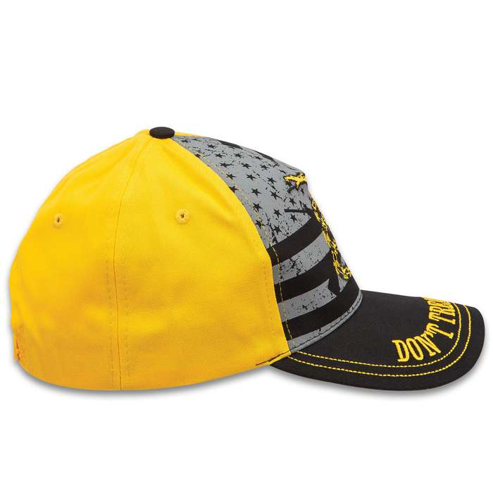 US Don't Tread On Me Cap - Five-Panel Hat, Color Screen Print And Embroidered Artwork, Snapback Closure