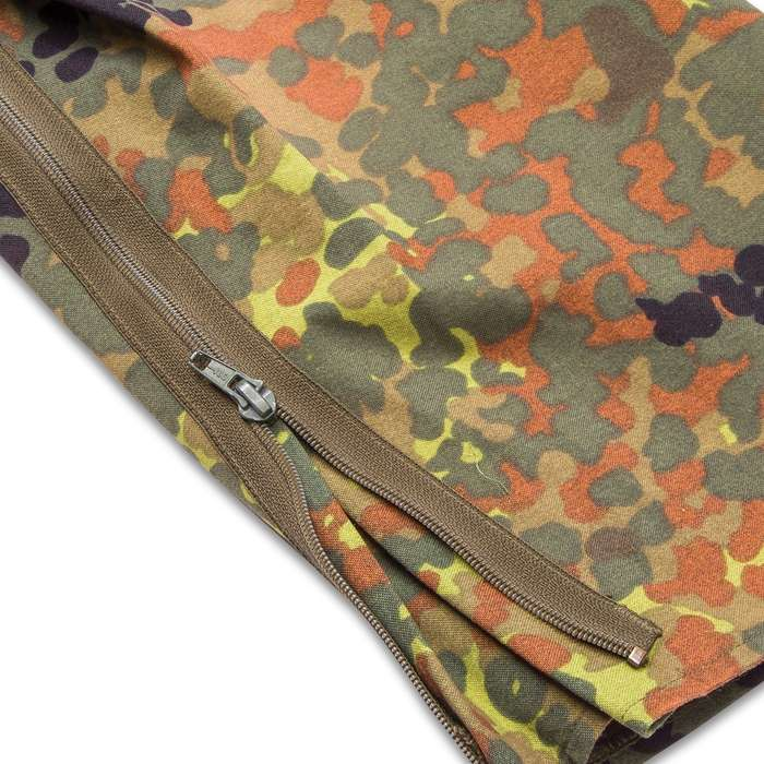 German Military Surplus Wet Weather Pants - Flecktarn Camo - Gore-Tex - Suspenders, Zip Gusseted Legs - Tough Lightweight Waterproof Breathable - Used - Hunting Fishing Outdoors Tactical