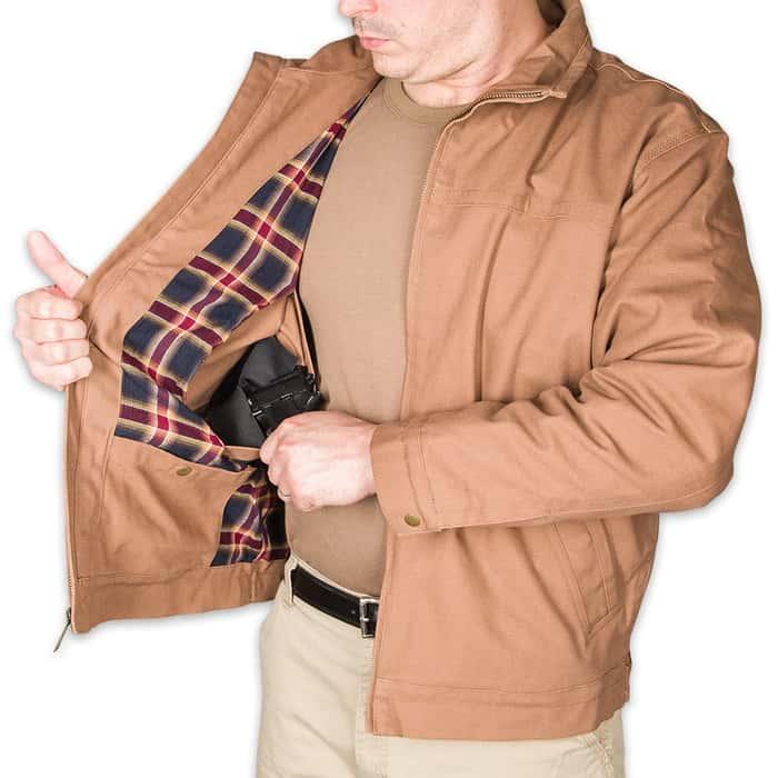 Concealed Carry Khaki Cotton Canvas Ranch Jacket
