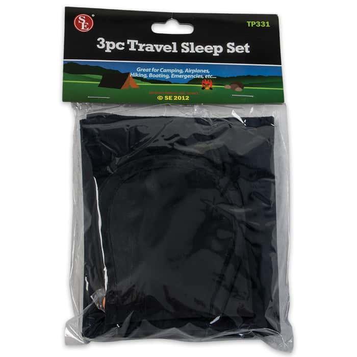 3 Pc. Travel Set Pillow, Eye Mask & Ear Plugs