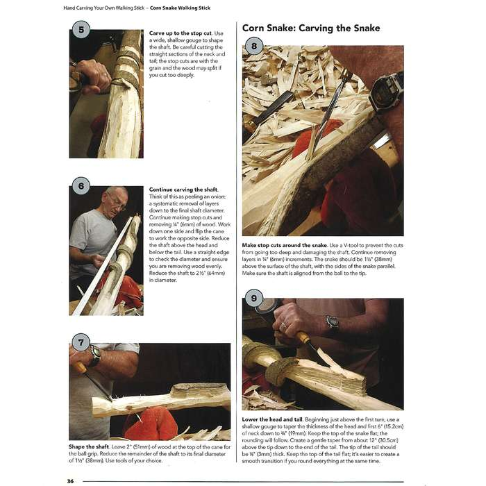 """Hand-Carving Your Own Walking Stick Guide - Paperback, Full-Color Illustrations And Photos, 72 Pages - Dimensions 8 1/2""""x 11"""""""