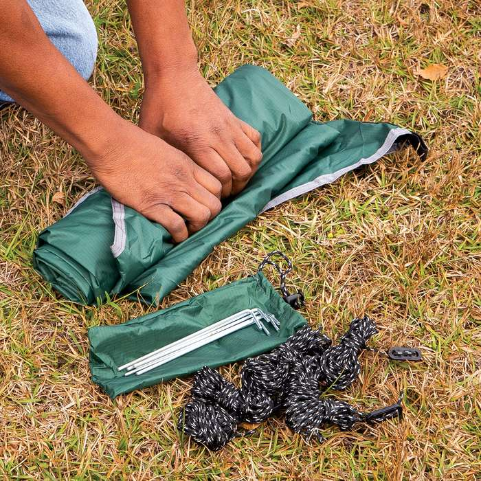 """Intense Waterproof Camping Tent/Tarp And Carry Bag - Stakes And Cord, Sturdy Nylon Construction - Dimensions 9'11""""x 8'4"""""""