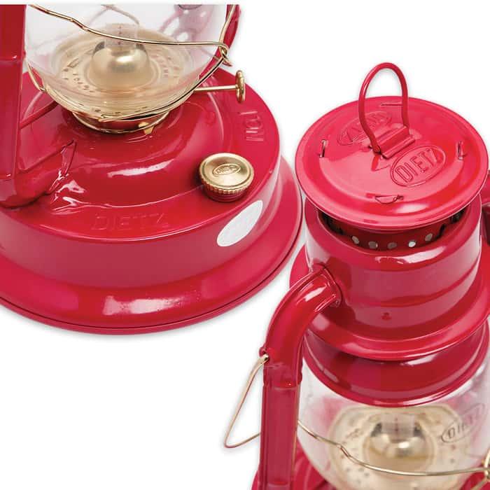 Dietz Little Wizard Lantern - Red With Gold Trim