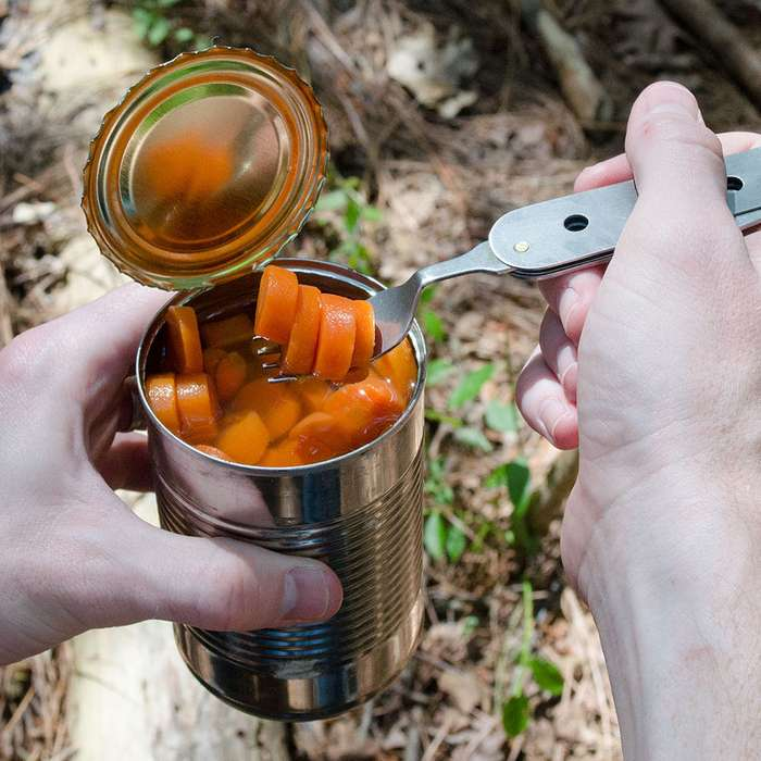 Camp Dining Tool With Knife, Fork, Spoon, Can Opener