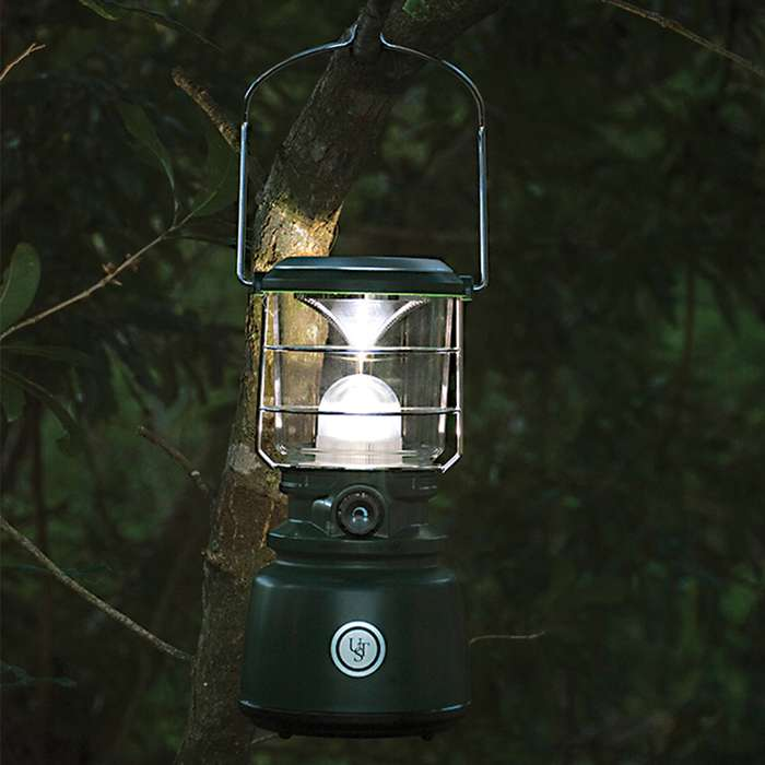 UST Heritage Green Camp Lantern - 1,000 Lumens, Dimmer Switch, Water-Resistant, Integrated Handle, Battery Powered