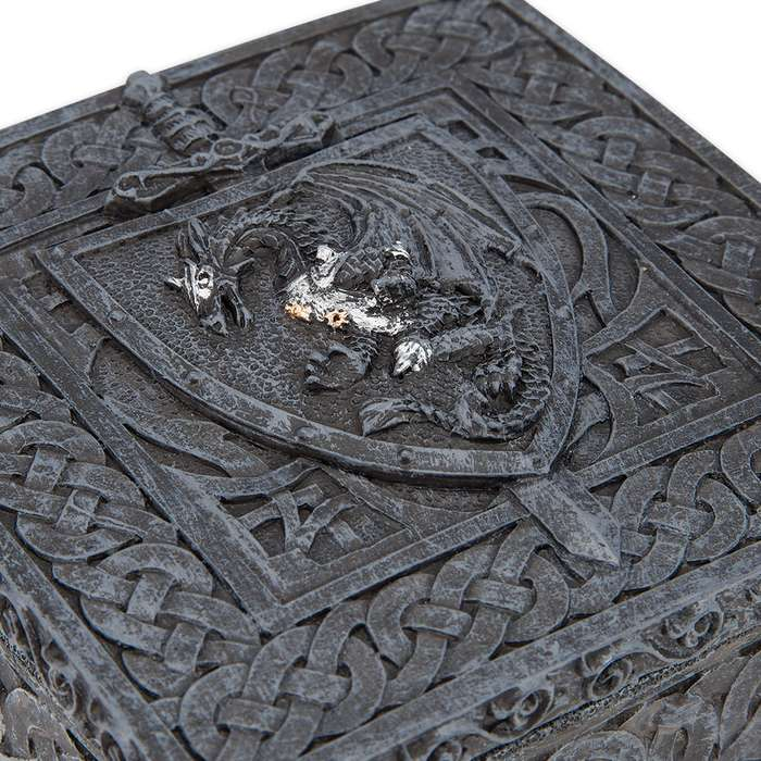 Dragon Shield Polyresin Box with Celtic Knot Relief Accents