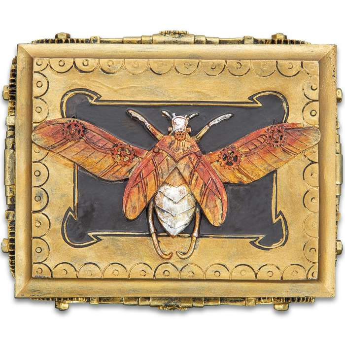 "Golden Moth Steampunk Box - Crafted Of Polyresin And Wood, Intricately Detailed, Hand-Painted, Removable Lid - Dimensions 5 3/4""x 4 1/4""x 2 1/4"""