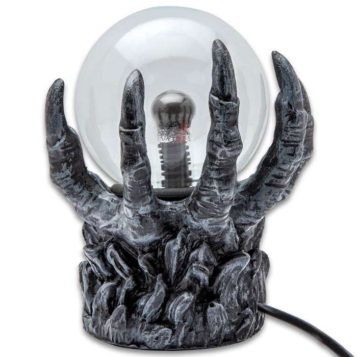 """Hellacious Hand Crystal Ball - Plasma Sphere, Touch Sensitive, High-Strength Glass Construction, Sculpted Resin Base - Dimensions 6""""x 3 1/4""""x 7 1/2"""""""
