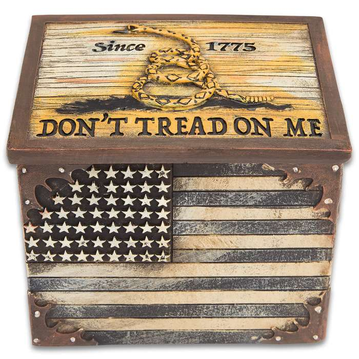 Don't Tread on Me Polyresin Trinket Box - Functional Home / Office Decor, Gift - 3D Reliefs - Gadsden Flag III 3 Percenters Patriot Independence USA America Rattlesnake 1776 Storage Stash Box Jewelry
