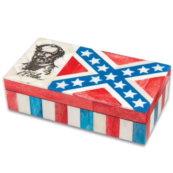 "Robert E Lee And Rebel Flag Bone Box - Genuine Bone And Wood Construction, Felt Lined Interior And Bottom - Dimensions 6 1/4""x 3 1/4""x 1 3/4"""