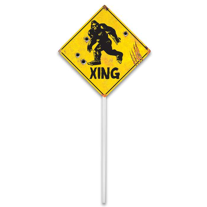 "Sasquatch Xing Sign - 24-Gauge Metal Construction, Vivid Artwork, Two Mounting Holes - Dimensions 12 1/2""x 12 1/2"""