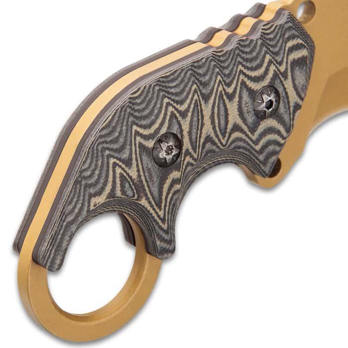 "Raptor Junior Arid Earth Karambit Knife - 3Cr13 Stainless Steel Blade, Titanium Finish, G10 Handle Scales - Length 5 1/2"""
