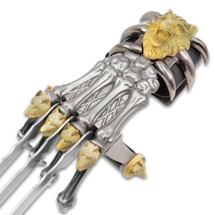 """Tomahawk Wolf Claw Gauntlet - Stainless Steel Blades, Cast Metal Skeleton Hand, Faux Leather Wrist Strap - Length 17"""""""
