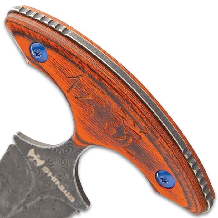 "Shinwa Suiryoku Bloodwood Push Dagger With Sheath - 3Cr13 Stainless Steel Blade, Raindrop Finish, Pakkawood Handle Scales - Length 6"""