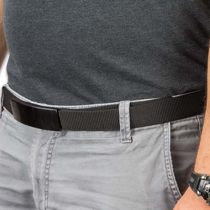 Ridge Runner Black Belt With Hidden Knife - Adjustable Canvas Belt, TPU Buckle, Black Stainless Steel Partially Serrated Blade,