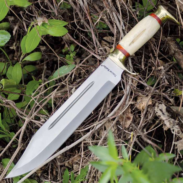Timber Rattler Swamp Gator Hunter Bowie Knife & Leather Sheath