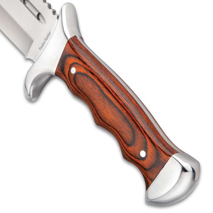 """Timber Rattler Grizzly Fighter Fixed Blade Knife With Sheath - 3Cr13 Stainless Steel Blade, Pakkawood Handle - Length 14"""""""