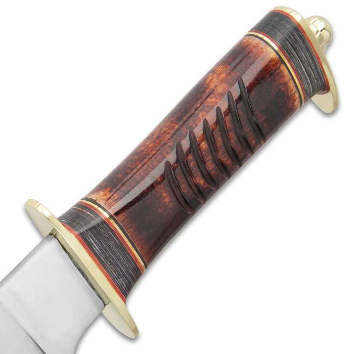"""Timber Wolf Aboriginal Hunter Knife With Sheath - Stainless Steel Blade, Stag Bone Handle, Brass Guard And Pommel - Length 10 3/4"""""""