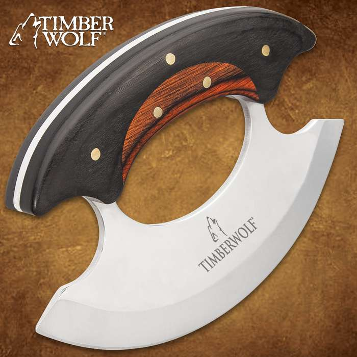 """Timber Wolf Shredder Ulu Knife With Sheath - Stainless Steel Blade, Wooden Handle Scales, Brass Pins - Length 3 3/4"""""""