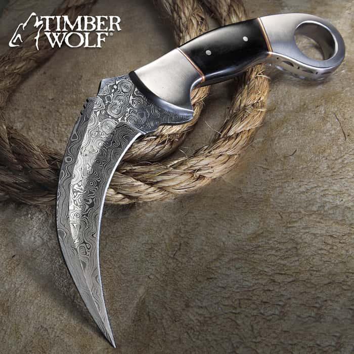 Timber Wolf Buffalo Horn Damascus Steel Karambit Knife