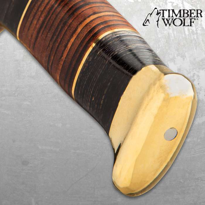 """Timber Wolf Tanis Tomb Knife With Sheath - Damascus Steel Blade, Banded Wood Handle, Brass Pommel And Handguard - Length 16"""""""